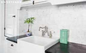 farmhouse sink above counter