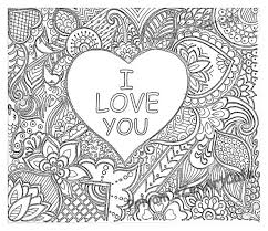 Easy Coloring Page Romantic Gift I Love You Art Love Zentangle