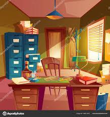 bookshelves office. Vector Working Space Detective Office Room Interior Desktop Cabinet Bookshelves \u2014 Stock
