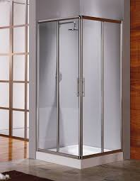 corner shower stall kits. Corner Glass Shower Stall Kits With Silver Frame And Handle Plus Faucet For Bathroom