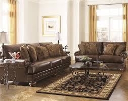 Ashley Brown Leather Durablend Antique Pc Sofa Package By Ashley - Leather livingroom