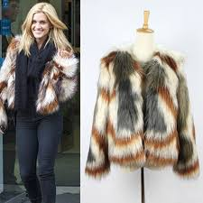 2016 celebrity new women gy faux fox fur contrast gradual color striped jackets short coat outerwear