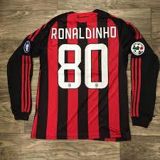 Ronaldinho AC Milan Men Medium Soccer Futbol Jersey Maillot Camiseta