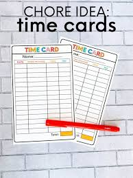 Make A Chore List Chore List Idea Printable Time Card