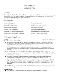 Logistics Management Resume Supply Chain Logistics Manager Resume