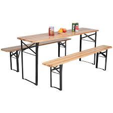 com giantex 3 pcs beer table bench set folding wooden top picnic table patio garden kitchen dining