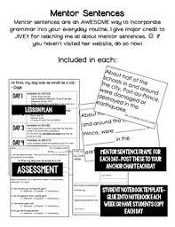Mentor Sentence Anchor Chart The Invisible Boy Mentor Sentence