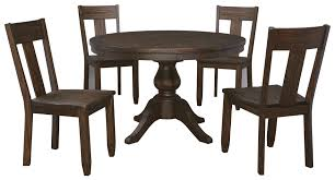 5 piece round dining table set with wood seat side chairs