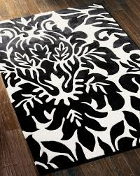 black and white damask rug