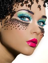 diffe kind of masquerade mask glue beads on the face black crystal make up for eyes with shiny pink lips