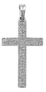 men s 9ct white gold 0 26ct pave set diamond cross pendant on a curb necklace zoom