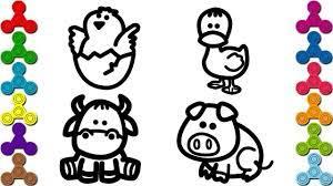 Vẽ con vật quen thuộc   Bé tập vẽ các con vật con Heo, Bò, Vịt, Gà đơn giản  - YouTube