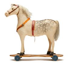 antique american toy pull along horse on wheels 19th c