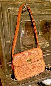 details about vintage leather hand tooled leather purse handbag