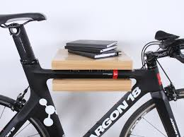 minimalist cream lacquer solid wood floating bike shelf holder affordable wooden bicycle rack for your