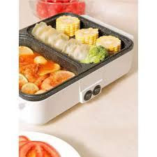 Bếp ăn đồ nướng, Nồi nướng điện 2 ngăn nhỏ gọn - Nồi đa năng Thương hiệu  OEM