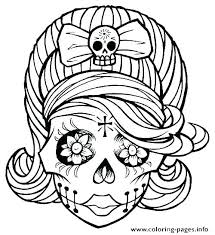 Day Of The Dead Skull Coloring Pages Printable Sugar Skull Colouring