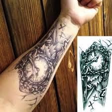 3d Sexy Fake Transfer Tattoo Chest Clock Tattoo Man Temporary Large Mechanical Arm Tattoo Sticker