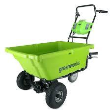 green garden cart greenworks 40v self propelled wheelbarrow village dump green garden cart