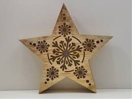 Deko Holz Leucht Stern Led Beleuchtet Weihnachtsstern Schnee