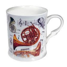 little snoring gifts bone china mug french horn design