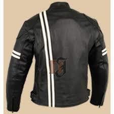 men motorcycle black white stripes leather jacket mens bker jacket