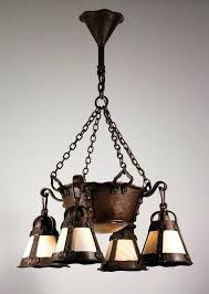 arts and crafts light fixtures sold magnificent antique arts crafts chandelier with slag glass early arts