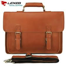 lexeb full grain genuine leather briefcase for men business travel bags attached 15 6 inch laptop case men s office work bag