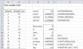 one sle t test real statistics
