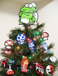 Super Mario Bros Perler Bead Star Christmas Tree Topper AndSuper Mario Christmas Tree