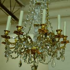 antique french with prisms and crystals