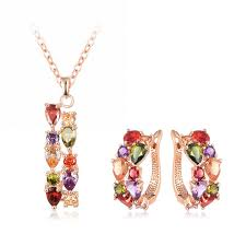 necklace set love heart shaped pendant set