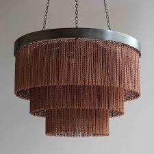 tigermoth copper chain shallow chandelier