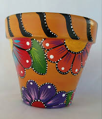 painted clay pot hand painted flowerpot patio decor painted pottery flower