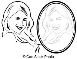 mirror reflection different clipart. the mirror - reflection of a young girl in mirror. the. different clipart