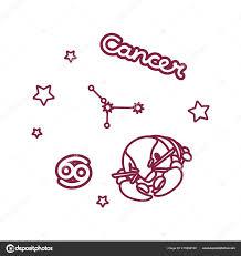 векторные линии знак зодиака рак созвездие векторное изображение