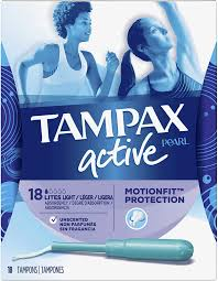 Tampax Sport Light Tampax Pearl Active Plastic Tampons Light Absorbency Unscented 18 Count Packaging May Vary