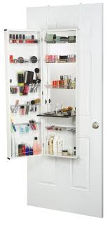 White Makeup Organizer Over The Door Hanging Cosmetic Organizer With Mirror A Great