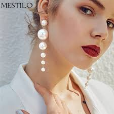 mestilo european multiple big pearls chandelier earrings for women fashion statement long drop earrings fine jewelry