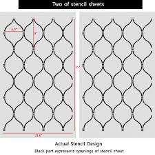 wall stencil lattice trellis quatrefoil pattern azure set 2 sheets diy decor