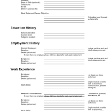 Fill In Blank Printable Resume Profesional Resume Template