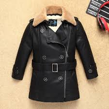 navy heavyweight thick boys leather jacket with fur collar for autumn winter kids baby warm coat er children s clothing