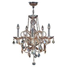 worldwide lighting provence collection 22 in 5 light polished chrome and amber crystal chandelier