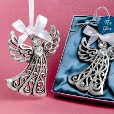 silver guardian angel ornament favor