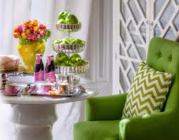 Bright Colored Coffee Tables Bright Green Armchair With Pillow And Round Coffee Table Along