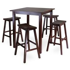 Tall Square Kitchen Table Set Parkland 5 Piece Square High Pub Table Set With 4 Saddle Seat