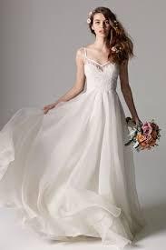 organza wedding gowns. V Neck A Line Wedding Dress with Natural Waist in Silk Organza