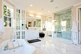 Creativity White Master Bathrooms Flooring Anchors This Bright Bathroom Featuring Full Height In Perfect Design