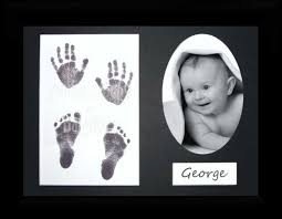 new baby handprint footprint kit inkless wipe black frame