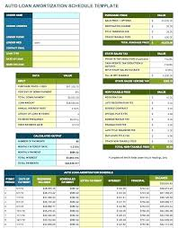 Auto Loan Calculator In Excel Auto Loan Amortization Schedule Excel Template Free